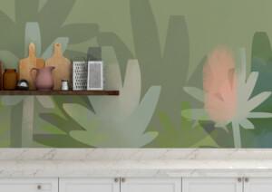 décoration murale cuisine végétal