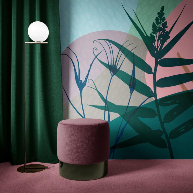 décoration hôtel velours fresque végétal