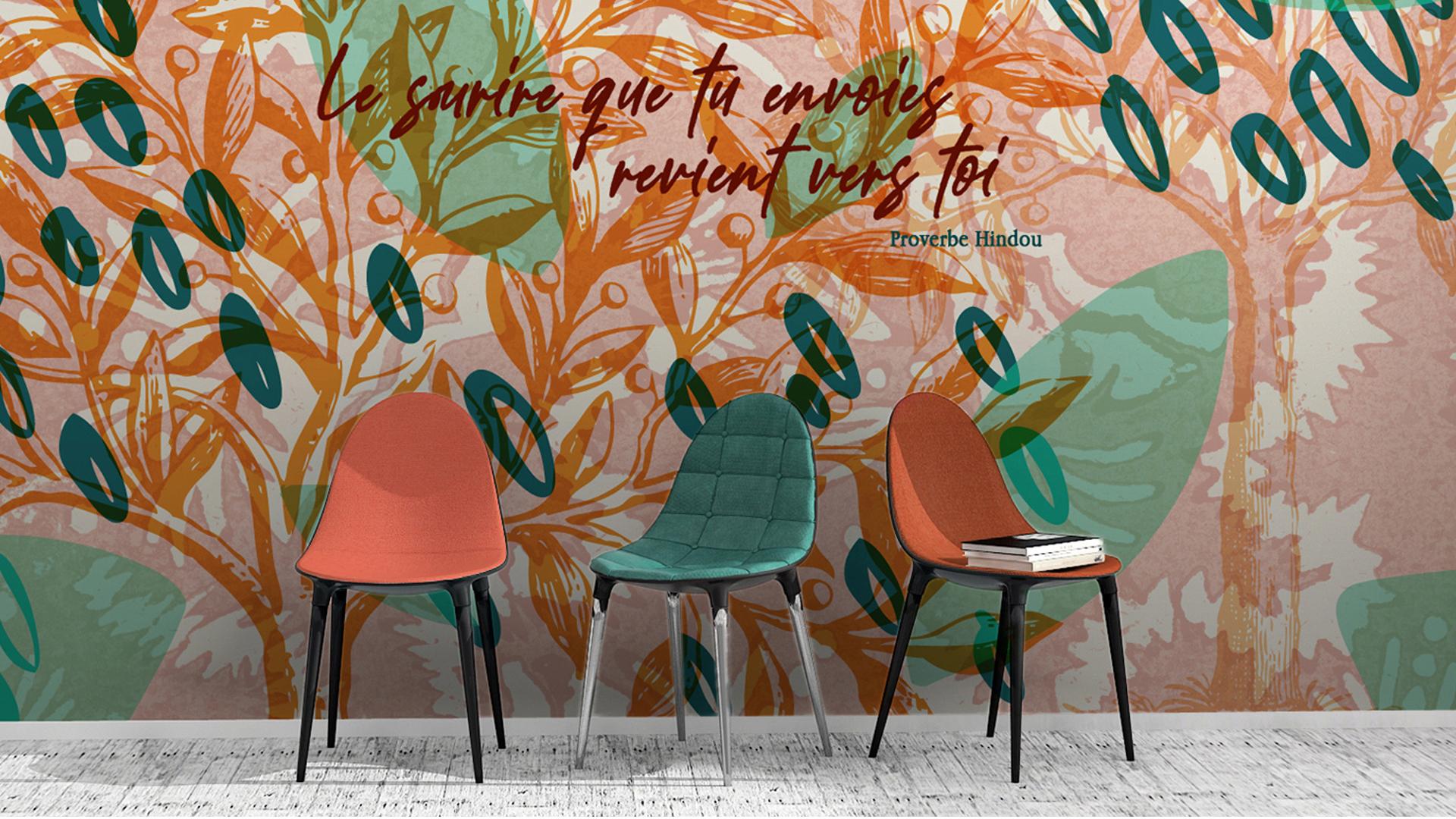 décoration restaurant cantine fresque mural design citation